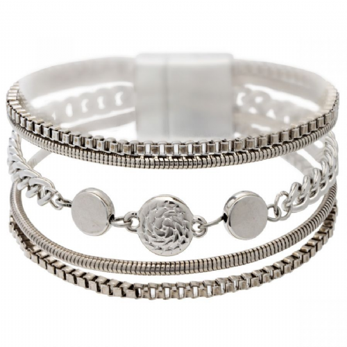 Bisoux Jewellery Magnetic Multi Strand Button Bracelet in Silver